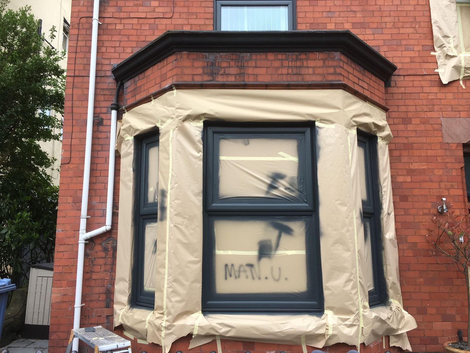 Upvc Door And Window Painting Front Of House Cheshire